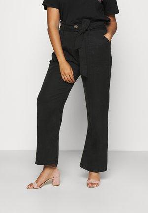 SOFT WIDE LEG PANT - Broek - washed black