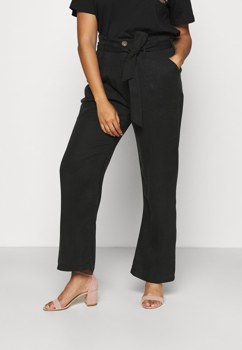 CAPSULE by Simply Be - SOFT WIDE LEG PANT - Trousers - washed black
