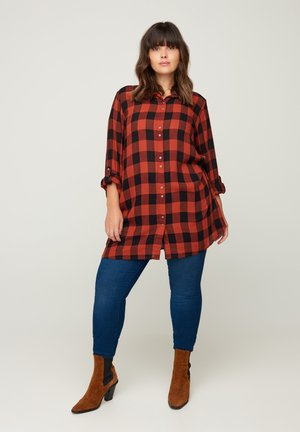 Button-down blouse - black comb