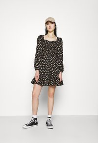 Miss Selfridge - DITSY POPLIN SQUARE NECK DRESS - Day dress - black - 1