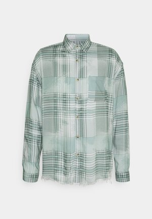 FRAYED CHECK SHIRT UNISEX - Button-down blouse - green