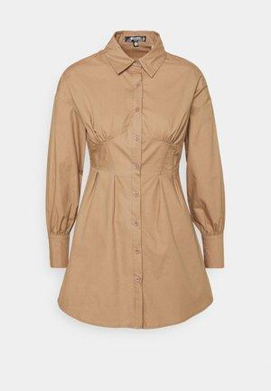 CORSET STITCHING DRESS - Shirt dress - stone