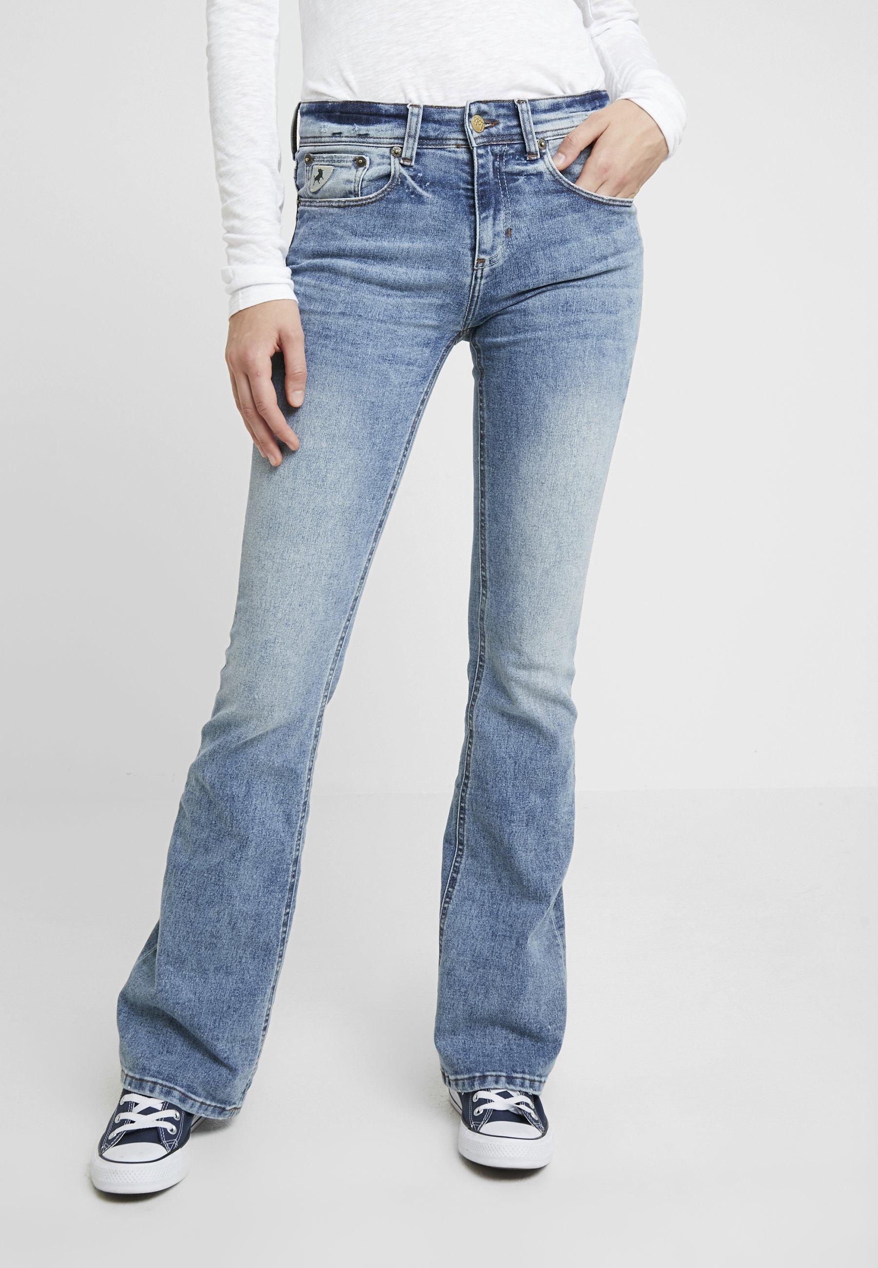 Blå High Rise Flare Leia Rinse Bukse | Lois | Bukser