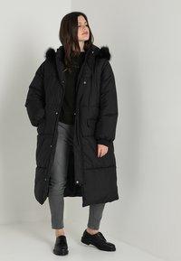 Urban Classics Curvy - LADIES OVERSIZE COAT - Winter coat - black/black - 2
