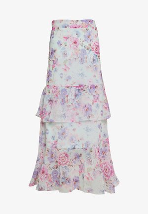FLORAL RUFFLE TIERED MIDI SKIRT - A-line skirt - lilac