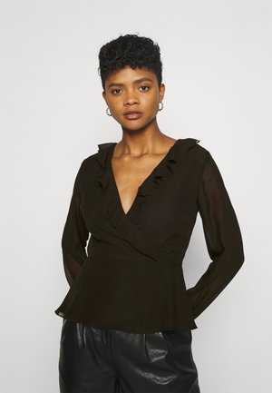 WRAPPED RUFFLE BLOUSE - Blouse - black