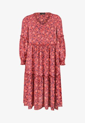 FLORAL TIERED - Jersey dress - red