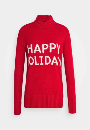 VMHOLIDAYS LONG HIGHNECK BLOUSE - Jumper - chinese red/snow white