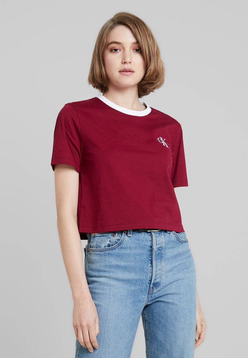 Calvin Klein Jeans - MONOGRAM EMBROIDERY RINGER TEE - Print T-shirt - beet red