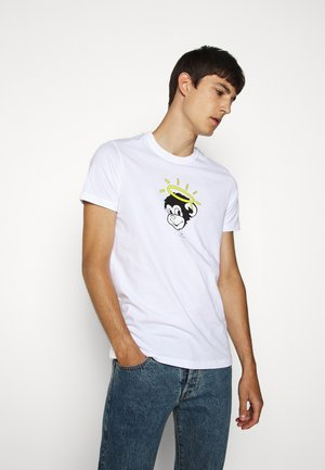 MENS SLIM FIT MONKEY HALO - Triko s potiskem - white