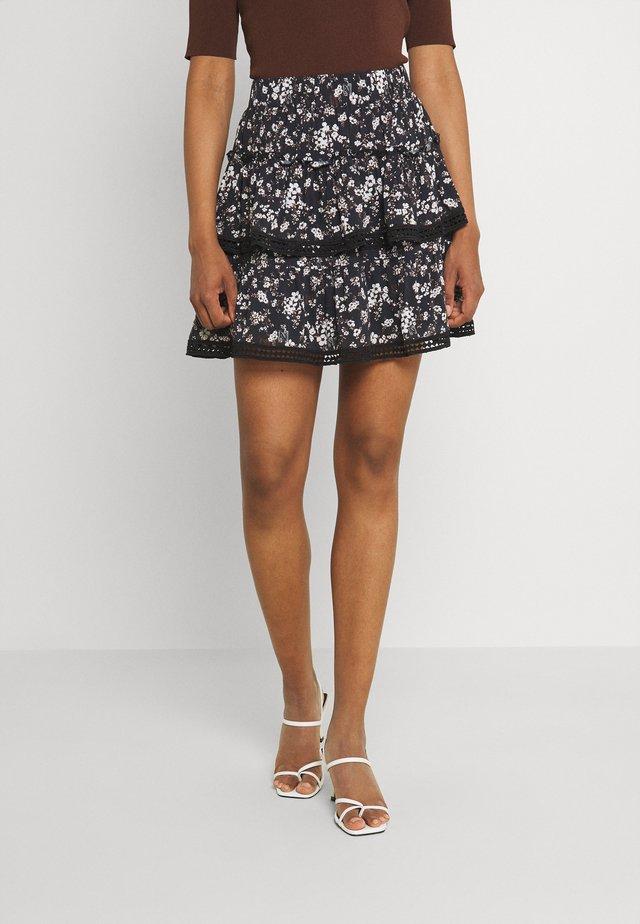 TAPE FLOWER SKIRT - Mini skirt - black