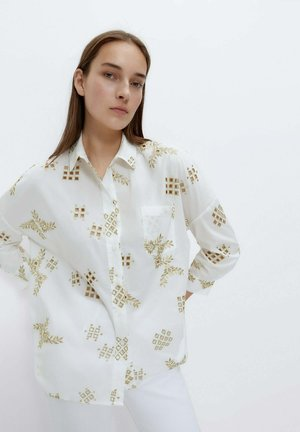 MIT STICKEREI - Button-down blouse - white