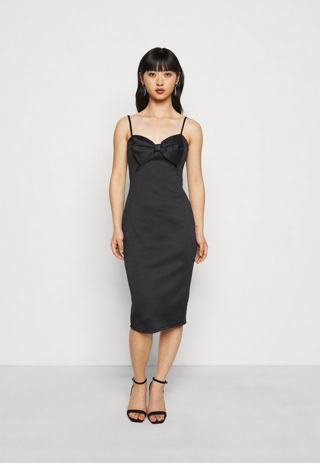 BOW MIDI DRESS - Tubino - black