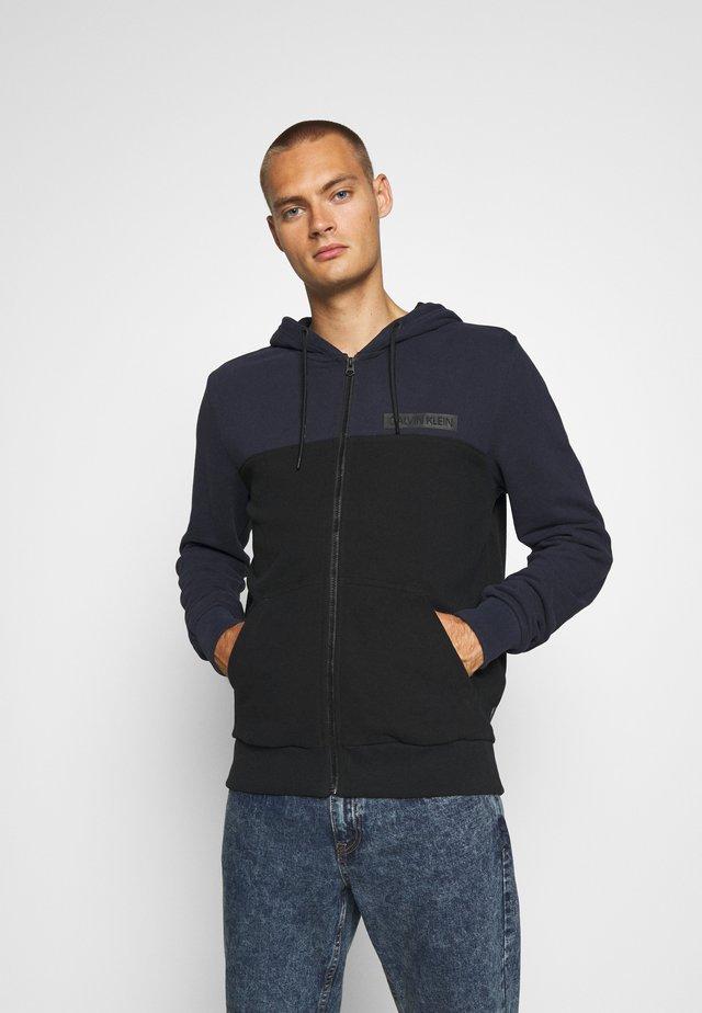 COLOR BLOCK ZIP THROUGH HOODIE - Zip-up hoodie - blue