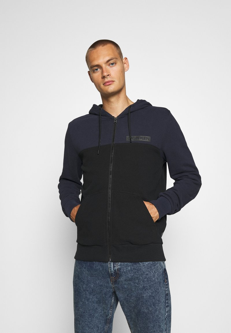 Calvin Klein - COLOR BLOCK ZIP THROUGH HOODIE - Felpa aperta - blue