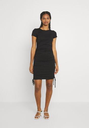 Rushing drawcord mini short sleeves basic dress - Shift dress - black