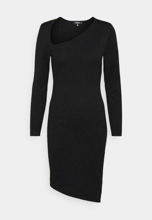 ASYMMETRIC NECK AND HEM MIDI DRESS - Day dress - black