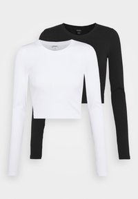 Monki - BARB 2 PACK - Long sleeved top - black dark/white