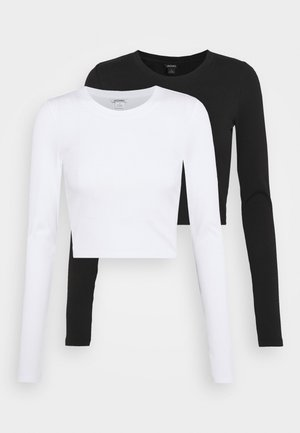 BARB 2 PACK - Long sleeved top - black dark/white
