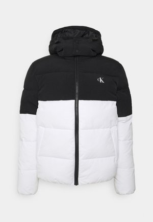 COLORBLOCK HOODED PUFFER - Winter jacket - bright white/black