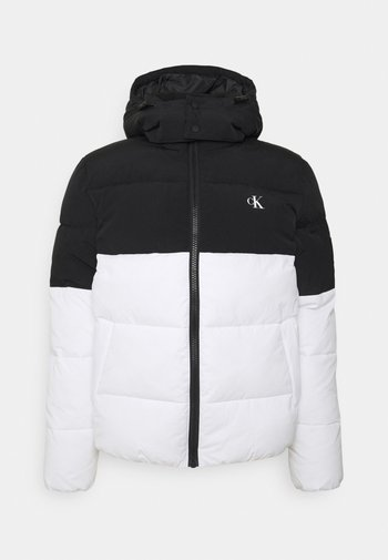 COLORBLOCK HOODED PUFFER - Giacca invernale - bright white/black