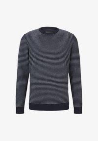 TOM TAILOR DENIM - Jumper - navy blue white stripy pattern - 4