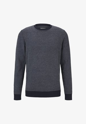 Pullover - navy blue white stripy pattern