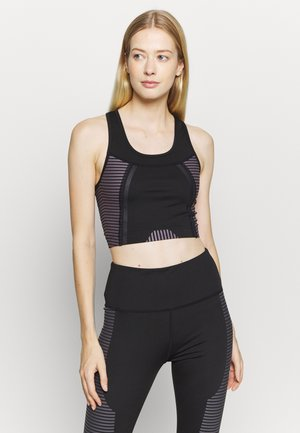 SCOOP NECK MUSCLE BACK LONGLINE - Sports bra - black/cocoa