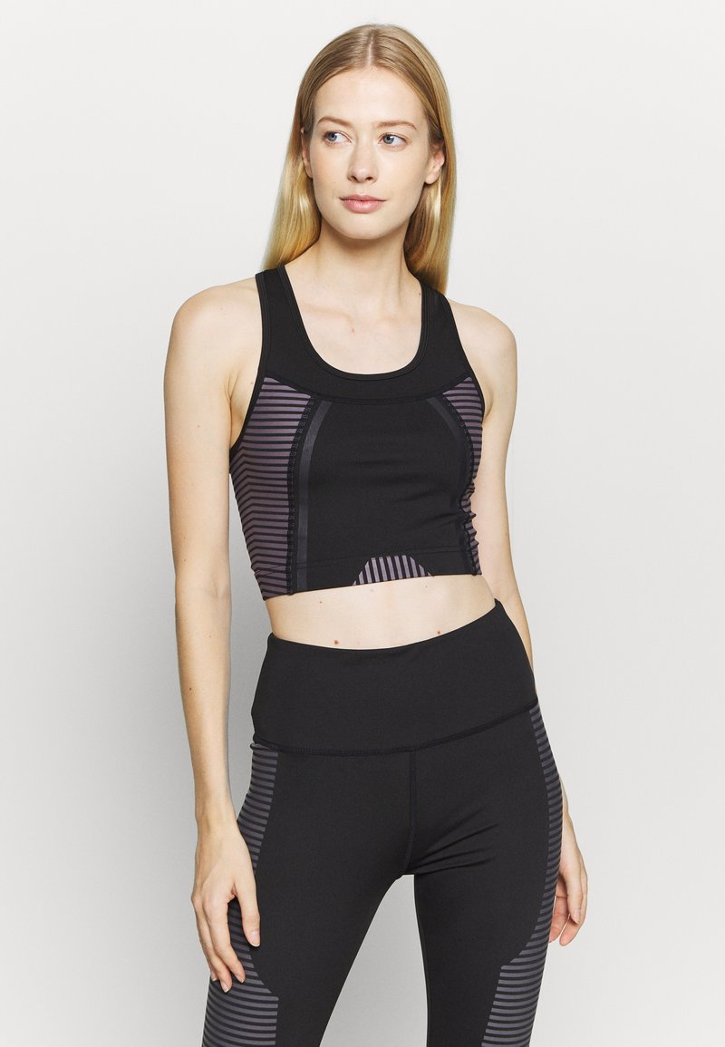 South Beach - SCOOP NECK MUSCLE BACK LONGLINE - Light support sports bra - black/cocoa