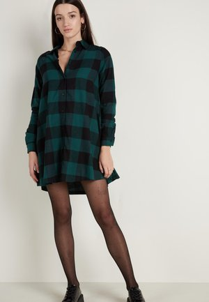 Shirt dress - schwarz - black/pine green maxi tartan