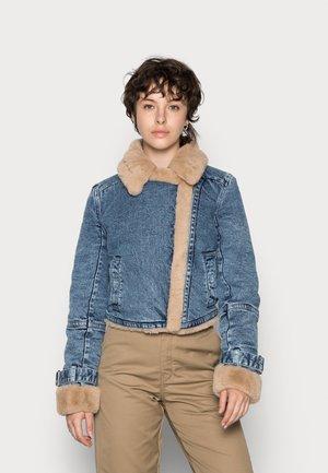 CROPPED BIKER - Denim jacket - blue denim