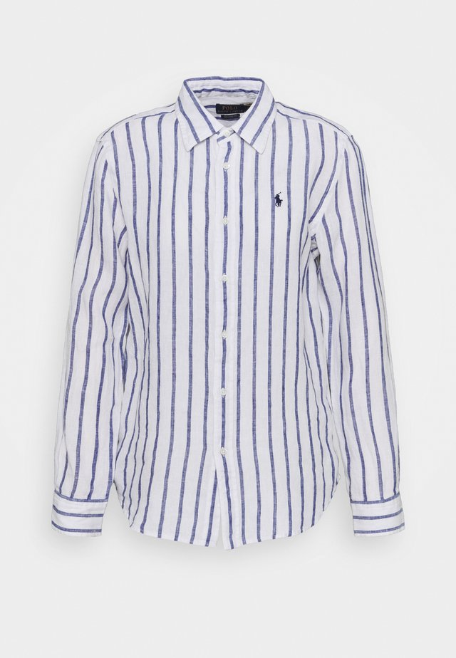 STRIPE LONG SLEEVE - Button-down blouse - white/blue