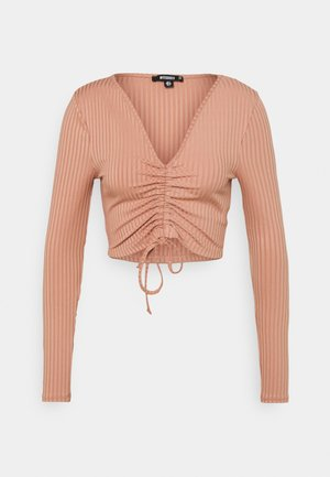 RECYCLED RUCHED FRONT CROP TOP - Bluser - pink