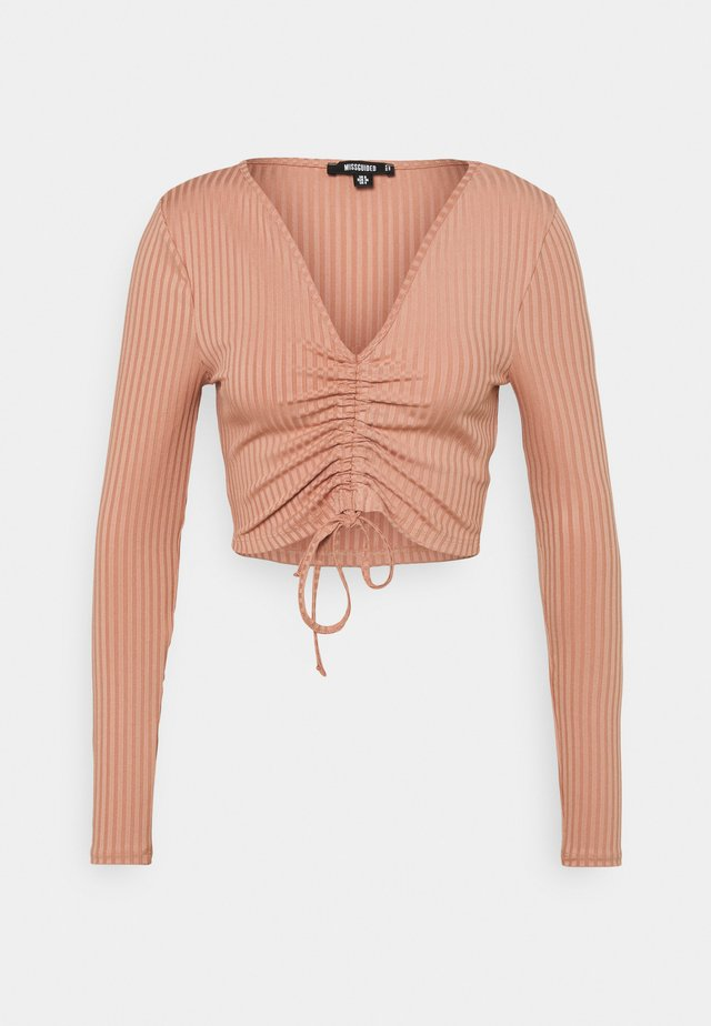 RECYCLED RUCHED FRONT CROP TOP - Blouse - pink