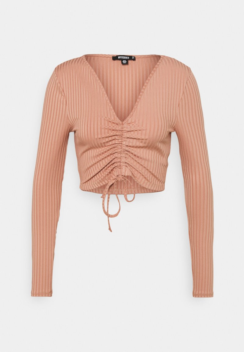 Missguided Tall - RECYCLED RUCHED FRONT CROP TOP - Blouse - pink