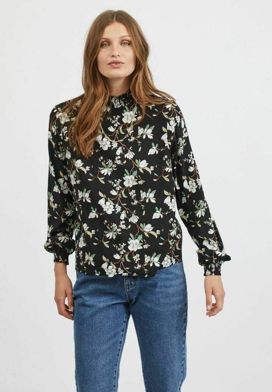 Damen MIT LANGEN ÄRMELN GEMUSTERT - Bluse - black