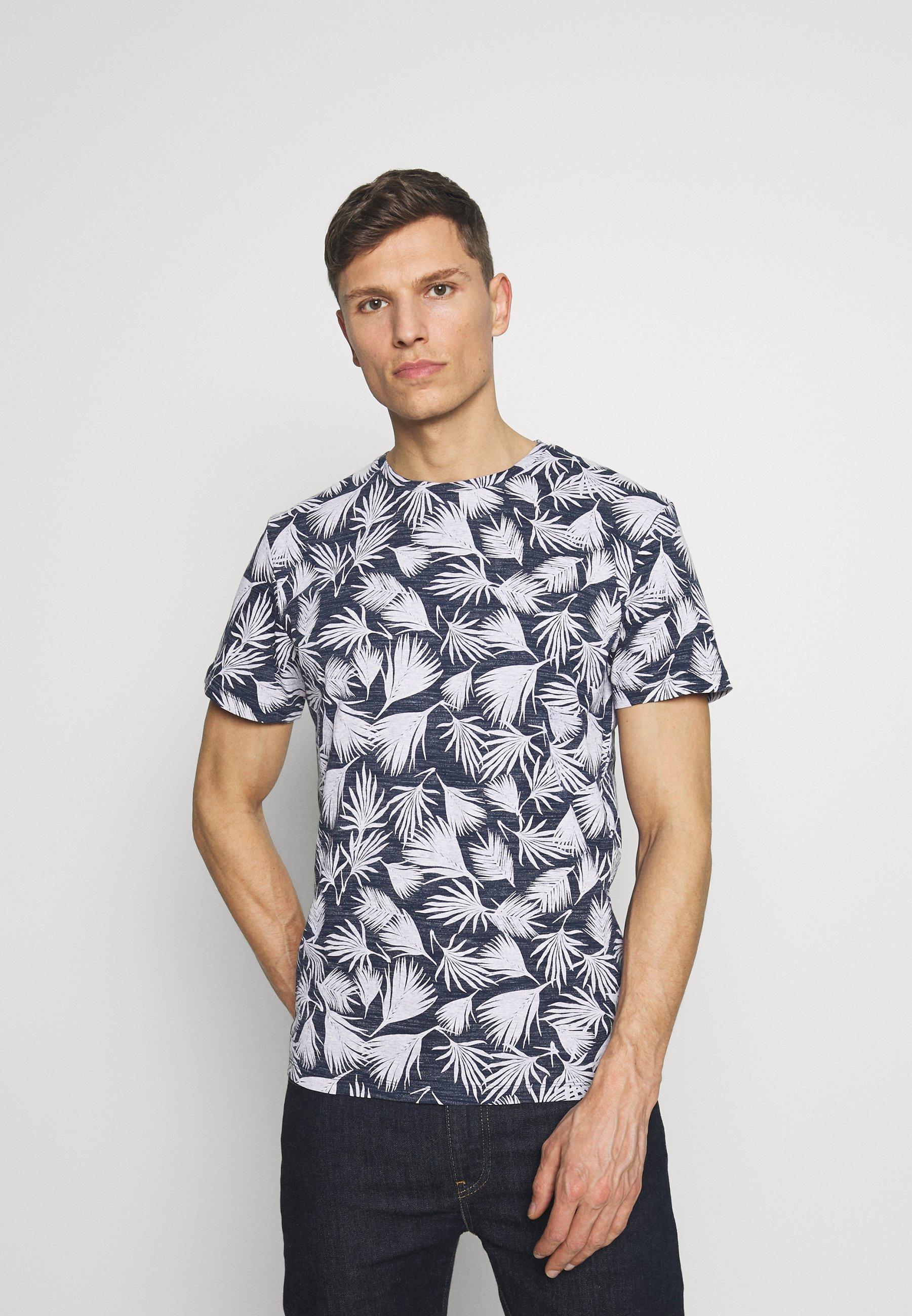 TOM TAILOR DENIM ALLOVERPRINTED - T-shirts med print - white/blue navy