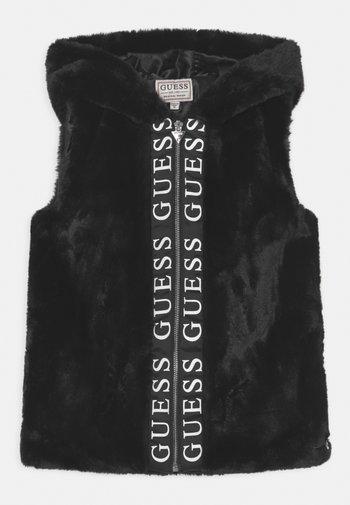 JUNIOR FAUX FUR HOODED - Waistcoat - schwarz