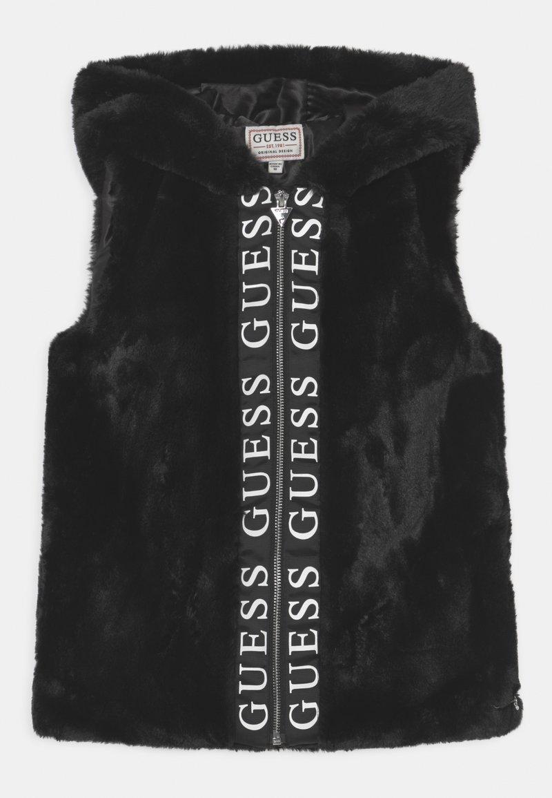 Guess - JUNIOR FAUX FUR HOODED - Waistcoat - schwarz