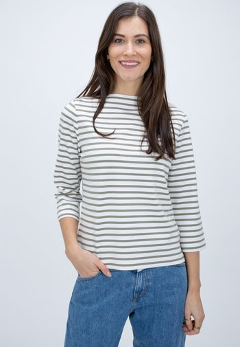 Long sleeved top - green-white
