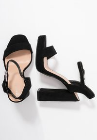 Topshop Wide Fit - WIDE FIT SABINE PLATFORM - High heeled sandals - black - 3