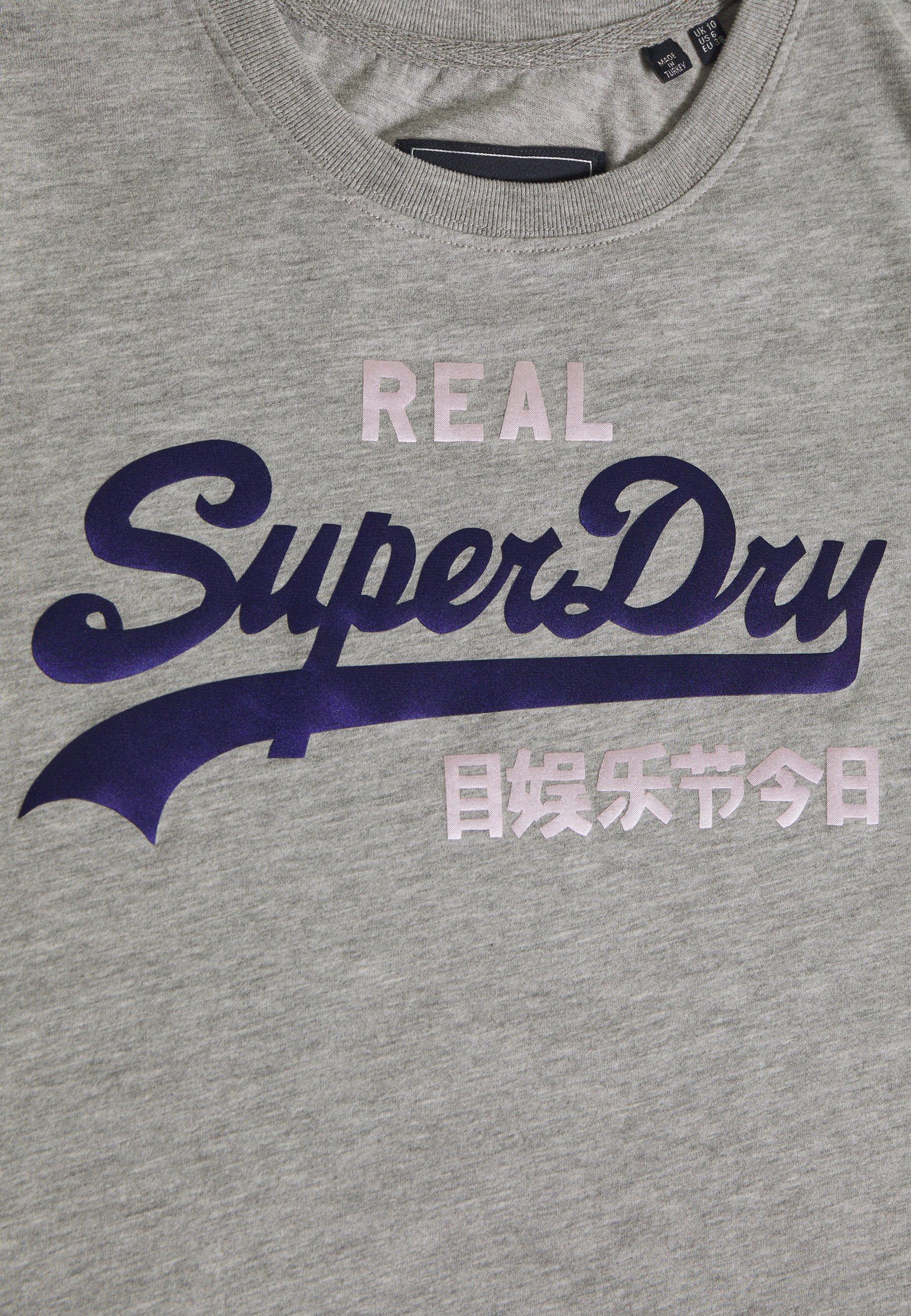 Superdry Duo Entry Tee - T-shirts Med Print Grey Marl/grå