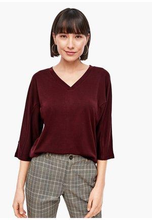 MIT PIQUÉSTRUKTUR - Long sleeved top - dark red