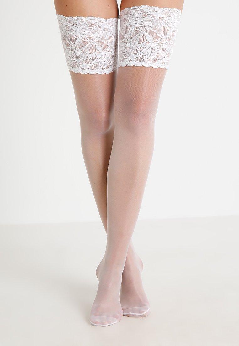 FALKE - FALKE SEIDENGLATT 15 DENIER STAY UPS TRANSPARENT GLÄNZEND - Over-the-knee socks - white