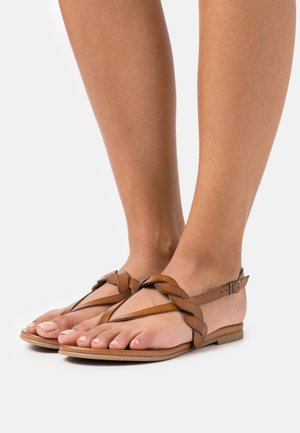 LEATHER - T-bar sandals - brown