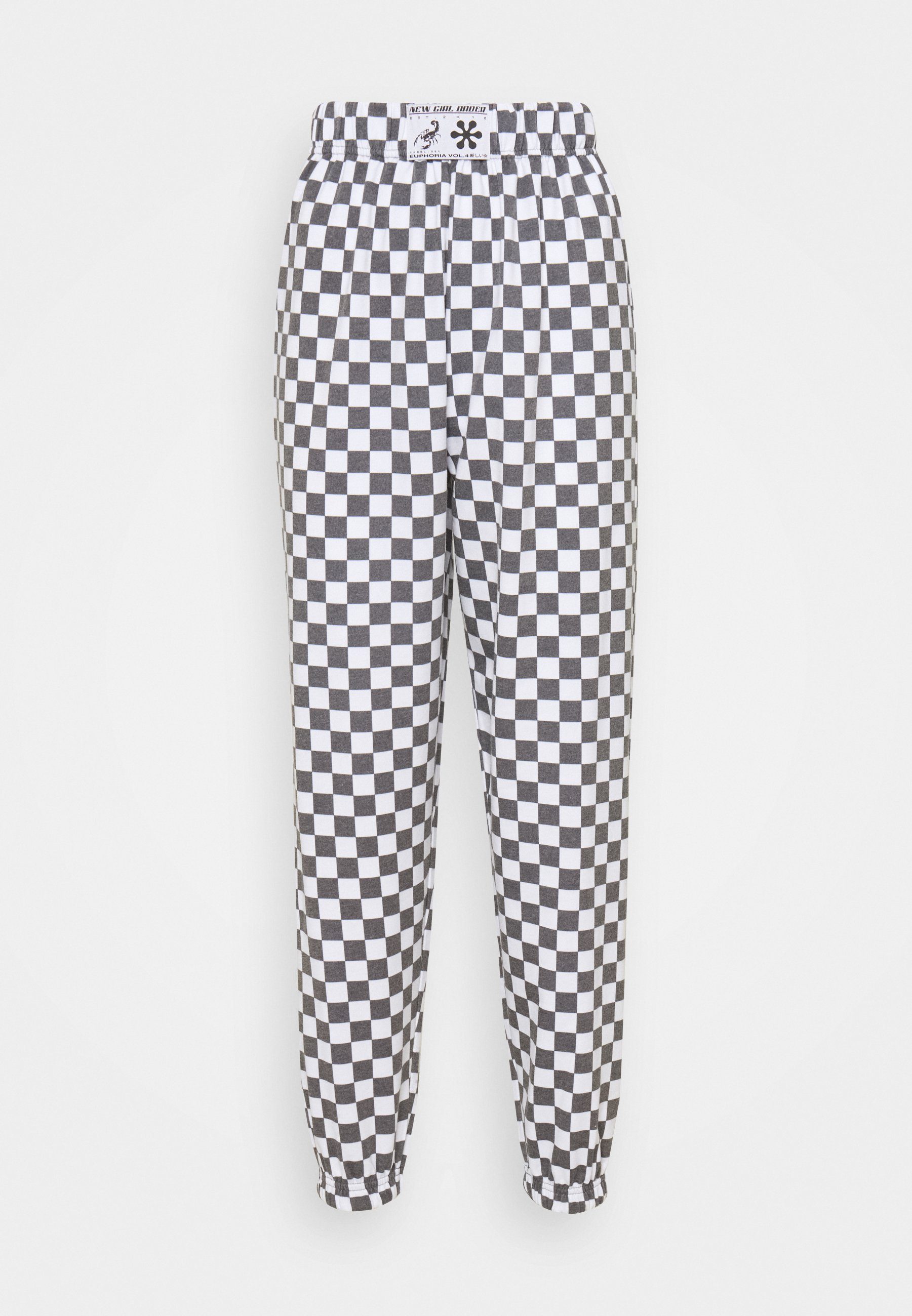 Women WHITE CHECKERBOAD TROUSER - Tracksuit bottoms