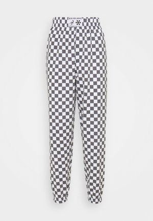 WHITE CHECKERBOAD TROUSER - Tracksuit bottoms - black/white