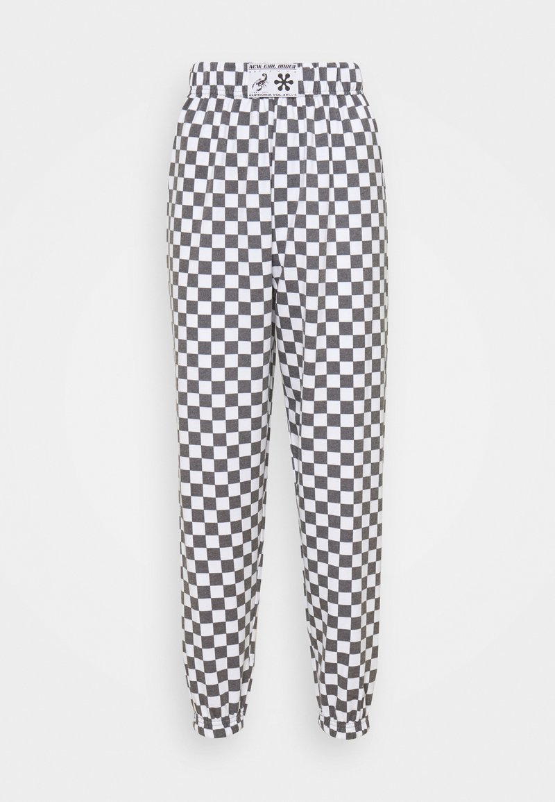 NEW girl ORDER - WHITE CHECKERBOAD TROUSER - Tracksuit bottoms - black/white