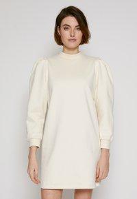 TOM TAILOR DENIM - PUFF SLEEVE DRESS - Day dress - soft creme beige - 0