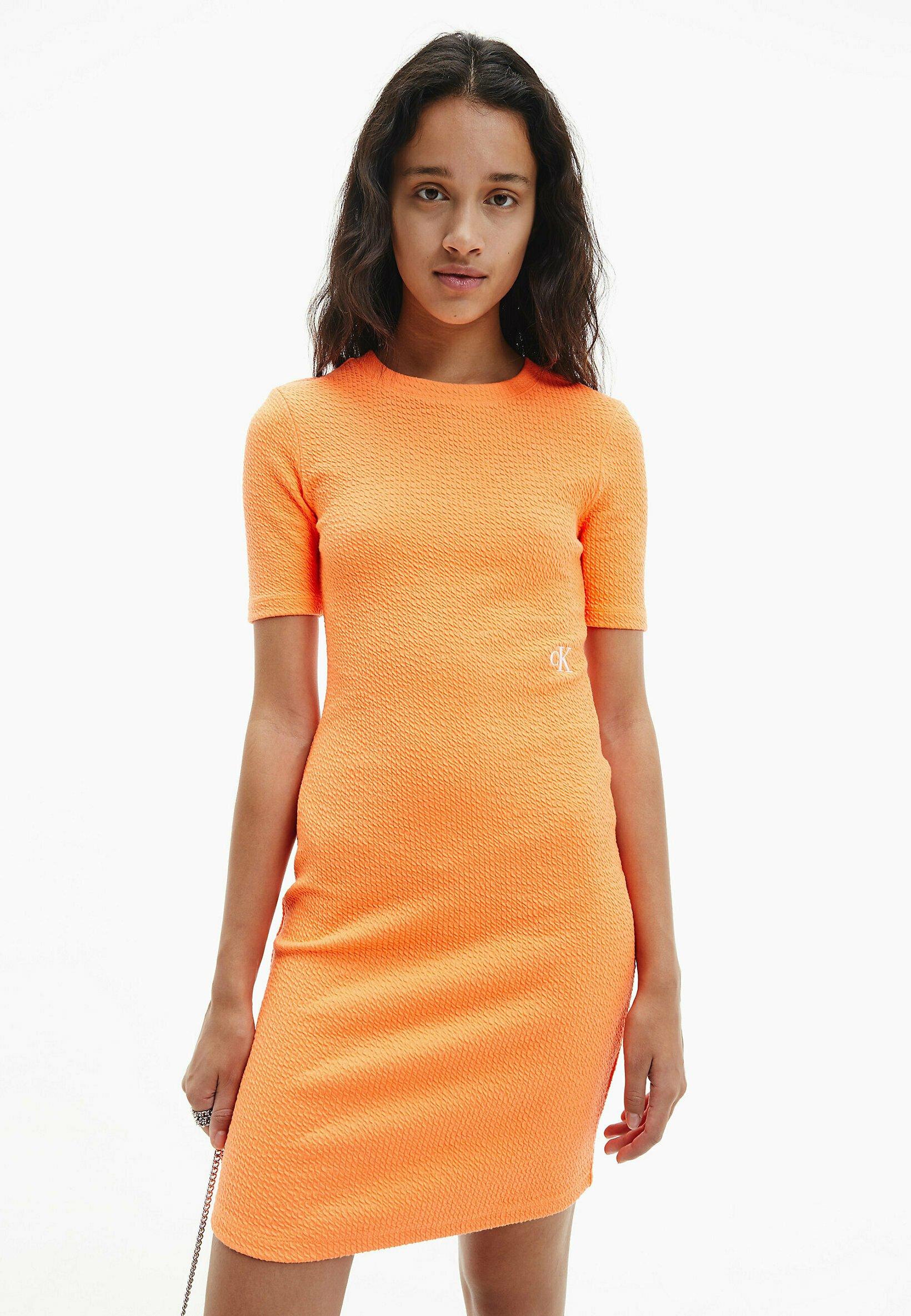 SLUB DRESS   Etuikleid   shocking orange